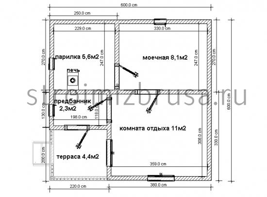 Как построить баню 6х6 из бруса 34