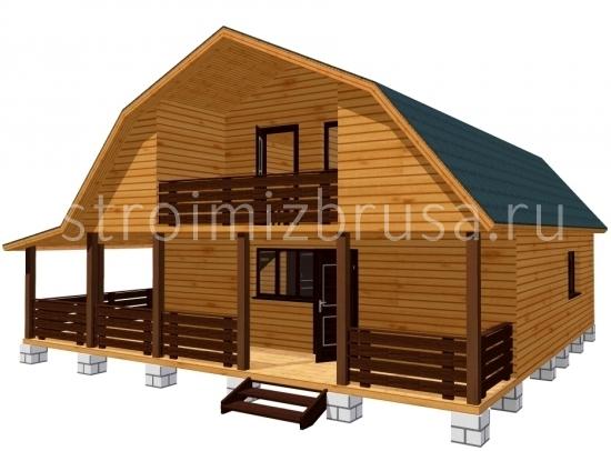 """Дом с мансардой и террасой """" деревянные дома под ключ."""
